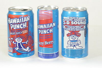 3 different Hawaiian Punch Soda Cans - empty