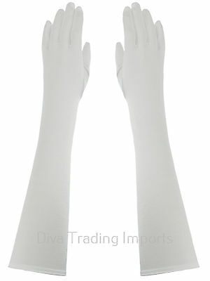 Below Elbow Length 15-inch Stretchy Shinny Satin Dress Gloves