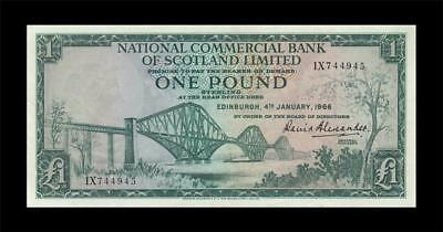 "4.1.1966 NATIONAL BANK OF SCOTLAND 1 POUND ""RARE"" (( aUNC ))"