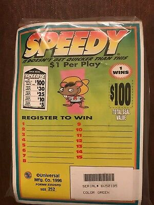 """Speedy"" 1 Window Pull Tab 252 Tickets Payout $200"