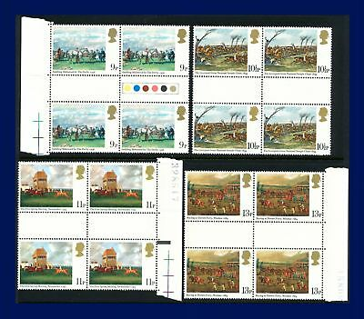 1979 SG1087-1090 9p-13p Horse Racing Set (4) Gutter Blocks MNH Cat £5.80 arsh