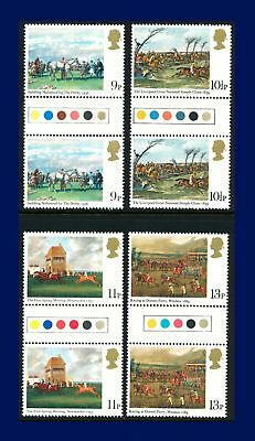 1979 SG1087-1090 9p-13p Horse Racing Set Traffic Light Gutter Pairs MNH arsg