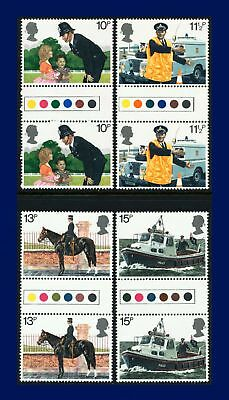 1979 SG1100-1103 10p-15p Police Set Traffic Light Gutter Pairs UM Cat £4.25 arsr