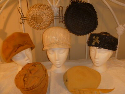 Lot of 7 Ladies Vintage Hats Straw Felt Feathers More!