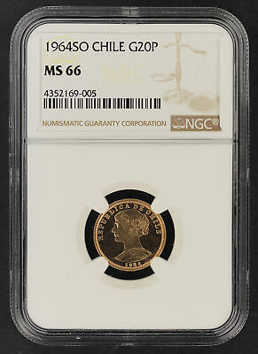 1964SO Chile Gold 20 Pesos NGC MS-66 Finest Known! -164581