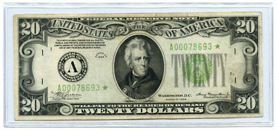 1934 $20 FRN Federal Reserve Star Note Boston, MA Light Green Seal Fr #2054-A*