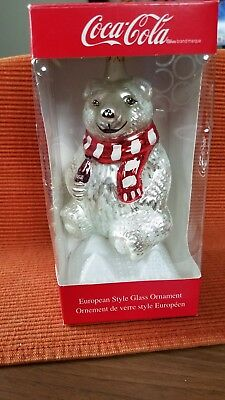 Coca Cola Polar Bear Glass 1999 Ornament