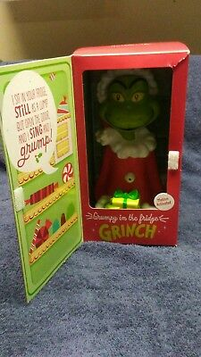 Talking Grinch in the frig from Hallmark