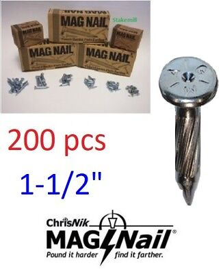 "ChrisNik MAG NAIL 241500 Magnetic Survey Nail , 1-1/2"" x 1/4""-DOUBLE BOX of ~200"