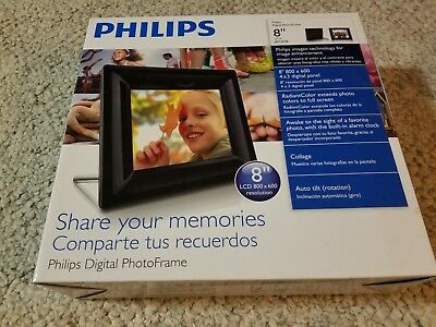 "Philips 8"" LCD 8FF2FPB Digital Picture Frame 800 x 600 Contemporary Black NEW"
