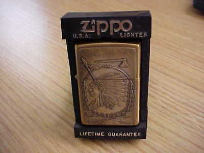 Vintage Zippo Lighter-Indian Chief-Brass-1998-Never Used-Original-Excellent-Nos
