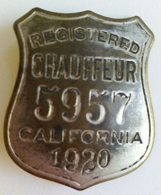 Vintage 1920 Registered Chauffeur Badge California No. 5957