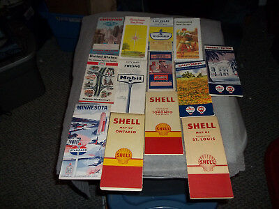 Lot Of 13 Vintage Road Maps Gasoline Advertising 1950's-60's