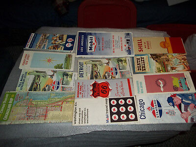 Lot Of 12 Vintage Road Maps Gasoline Advertising 1950's-60's