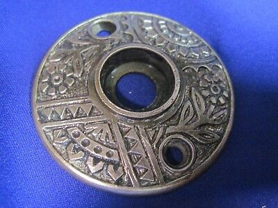 Victorian East Lake Cast Bronze Rosette Doorknob Back Plate Brass Antique