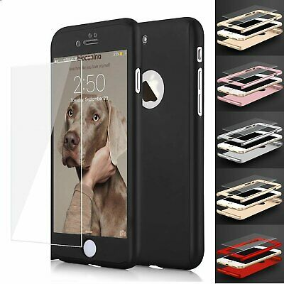 Ultra Thin Hard Case Cover For iPhone 8/8 Plus + Tempered Glass Screen Protector