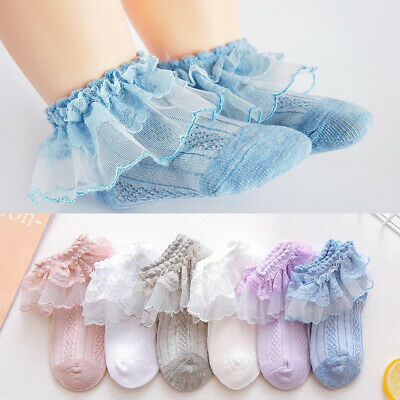 Girls Baby Toddler Kids Frilly Lace Trim Ankle School Party Wedding Socks 9m-10y
