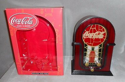 COCA COLA  AM / FM Table Top Radio Lighted Stained Glass Look W/ Box WORKS  Coke