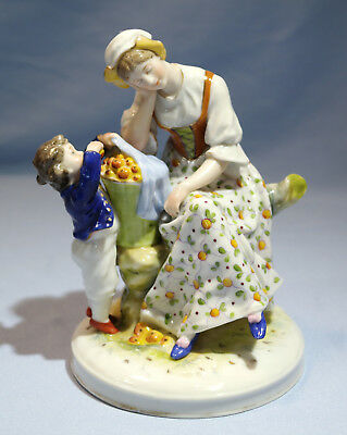 Capodimonte Hand Painted Porcelain Figure of Apple Seller/Snatcher 20th Century