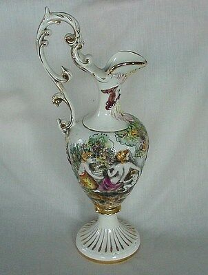 Tall Vintage R Capodimonte Ewer Nude Women Putti King Satyr Gold Accents