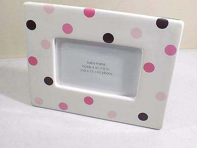 """First Impressions Girl's Polka Dot Baby Picture Frame 4"""" X 6"""" NIB"""