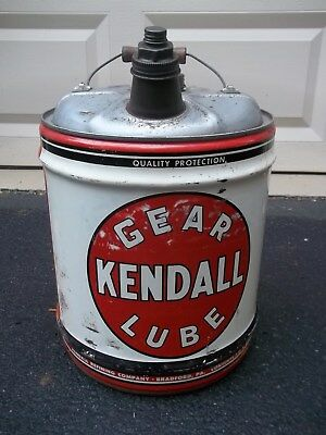 NICE 5 GALLON Kendall OIL can shop garage sign gear lube