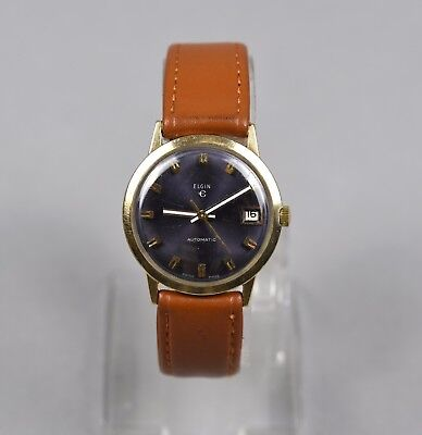Vintage Elgin Men's Gold PlatedAutomatic Date Blue Dial Watch Leather Band