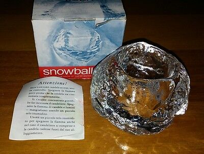 "NIB KOSTA BODA ""SNOWBALL"" CLEAR CRYSTAL GLASS Candle Holder Sweden BEAUTIFUL NEW"