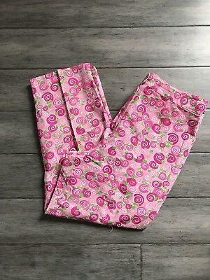 Vintage Lilly Pulitzer Size 16 Snail Escargot Printed Pink Cropped Pants