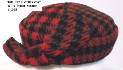 1707  FABULOUS Vintage plaid Beret type hat Wool Blend  OSFA