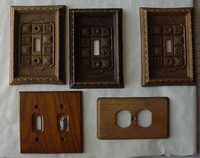 5 Vintage Wood & Plastic Switch Plate and Outlet Covers ~ 1970's 1980's
