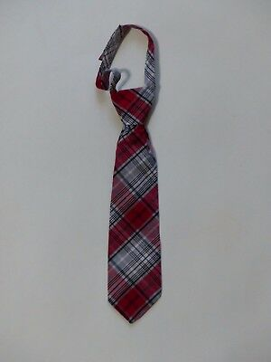 Boys Red Black Plaid Holiday Necktie Tie 2T - 5T