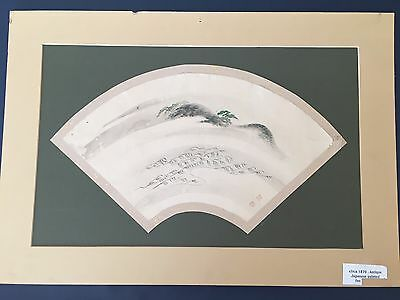 Antique Circa 1870 Signed Japanese Fan Shape Watercolor Painting Mountain Trees