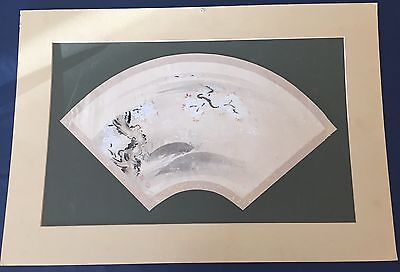 Antique Circa 1870 Signed Japanese Fan Shape Watercolor Painting Trees Blossoms