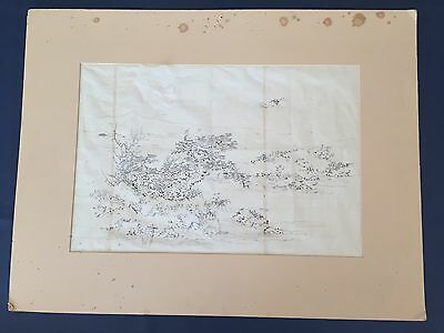 Antique Circa 1860 Japanese Watercolor Painting Mulberry Paper Cranes Turtles