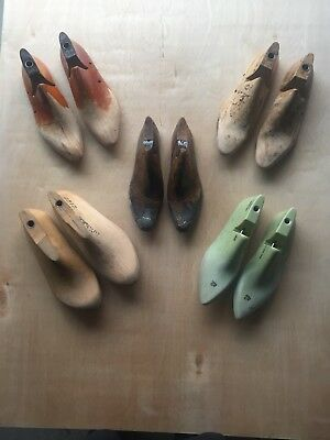 Lot of 5 Pairs of Vintage Wooden and Plastic Shoe Lasts Molds Forms