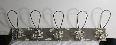Wire COAT Hat WALL Rack 5 HOOKS Rustic Metal New antique vintage