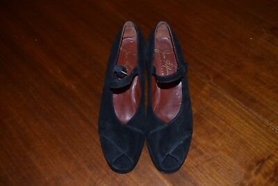 Joan Helpern Late 1940s Women's Suede Platform Open Toe Shoes, Size 8.5/9