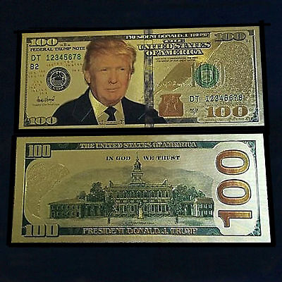 24K Gold Plated Donald Trump Money $100 Gold Dollar Bill Novelty Money W/sleeve
