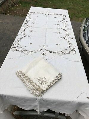 Antique Large MADEIRA Linen Tablecloth Hand Embroidered With Napkins c1900