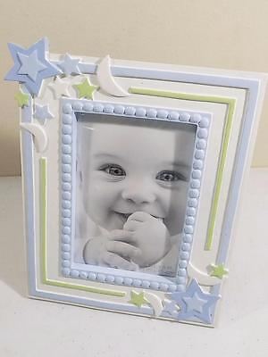 """First Impressions Boys Stars / Moons Blue / White Baby Picture Frame 4"""" X 6"""" NIB"""