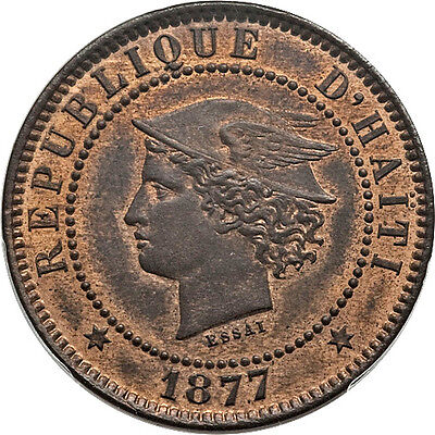 Haiti 1877 IB-CT 20 Republic Copper Essai Pattern 20 Centimes SP-62 RB RARE!!