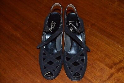 Women's 1940s Black Suede Shoes with Beautiful Latticework Tops, Size 9