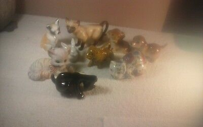 way cool lot of porcelain dogs,cats and a rabbit figurines 9 total