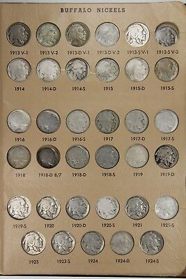 1913-1937 PDS Buffalo Nickel 5C Circulated Partial Set Collection of 67 Coins