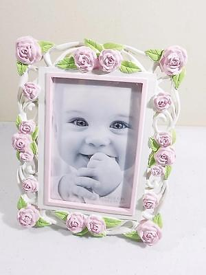 """First Impressions Girl's Pink Flowers Baby Picture Frame 4"""" X 6"""" NIB"""
