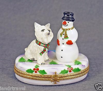 New French Limoges Box Cute Westie Dog Puppy W Snowman On Box W Winter Scene