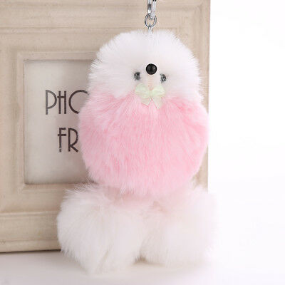 Fluffy Plush Keyring Soft Fluffy Faux Rabbit Fur Car Handbag Cute Dog Keychain