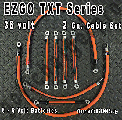 E-Z-GO TXT Series Golf Cart  2 Gauge HEAVY DUTY 36 V Battery Cable Wiring Set