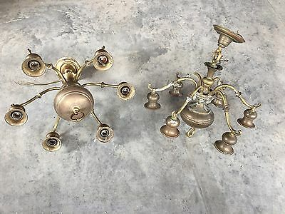 Pair Solid Brass Chandeliers 6 Light Antique Vintage Bryant Sockets